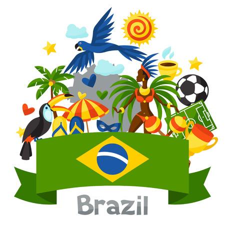 pelota: Brasil fondo con objetos estilizados y símbolos culturales.
