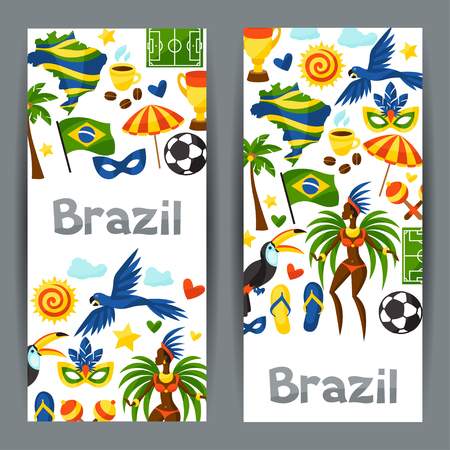 spanking: Brazil banners with stylized objects and cultural symbols.