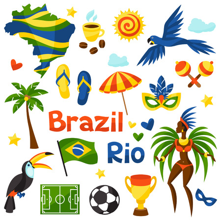 brasil: Collection of Brazil stylized objects and cultural symbols.