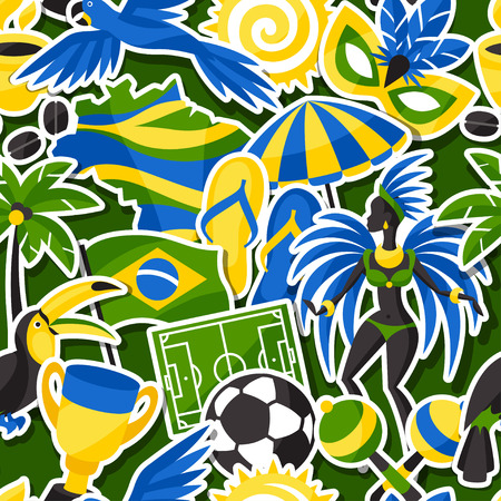 soccer field: Brazil seamless pattern with sticker objects and cultural symbols.