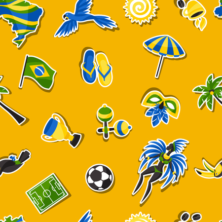 spanking: Brazil seamless pattern with sticker objects and cultural symbols.