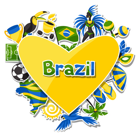brazil country: Brazil background with sticker objects and cultural symbols. Illustration