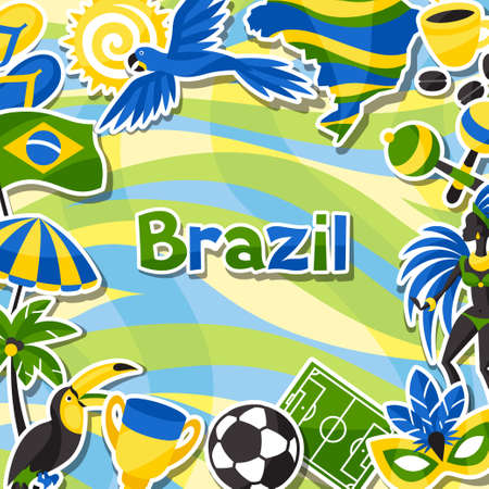 spanking: Brazil background with sticker objects and cultural symbols. Stock Photo