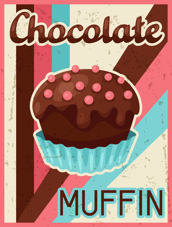 sweetmeats: Poster with chocolate bar in retro style. Illustration