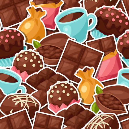 sweet: Chocolate seamless pattern with various tasty sweets and candies.