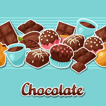 cocoa: Chocolate seamless pattern with various tasty sweets and candies.
