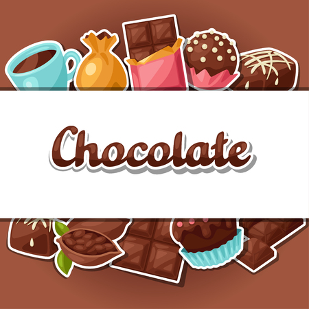 sweet food: Chocolate background with various tasty sweets and candies. Illustration