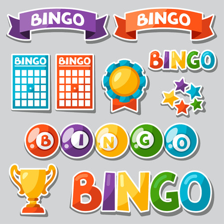 bingo: Set of bingo or lottery game with balls and cards.