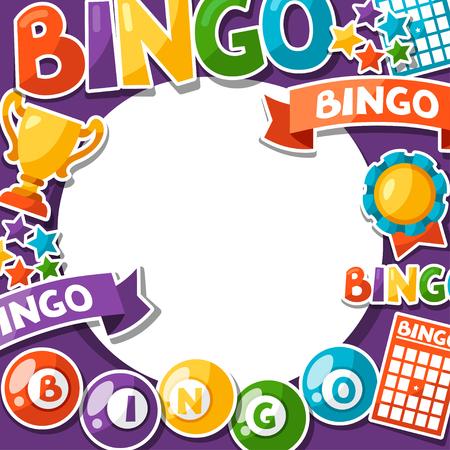 Bingo o juego de la lotería de fondo con bolas y tarjetas.