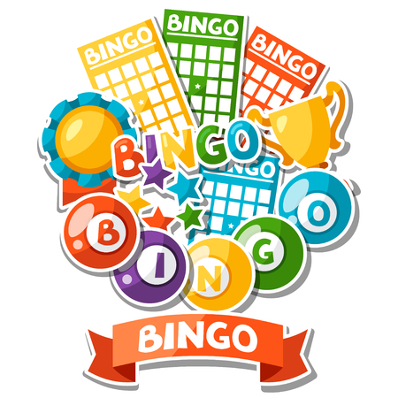 betting: Bingo or lottery game background with balls and cards.