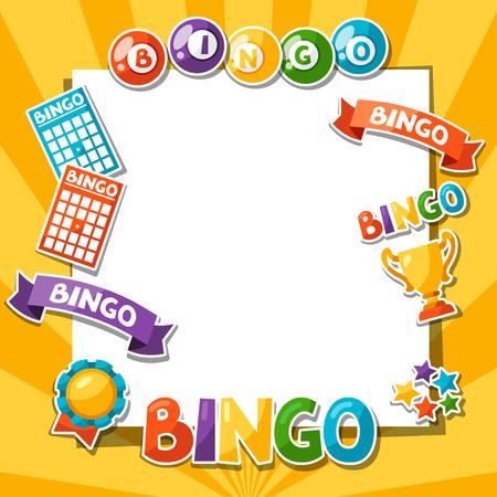 Bingo oder Lotteriespiel Hintergrund mit Kugeln und Karten.