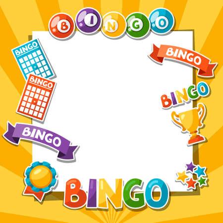 bingo: Bingo o juego de la lotería de fondo con bolas y tarjetas.