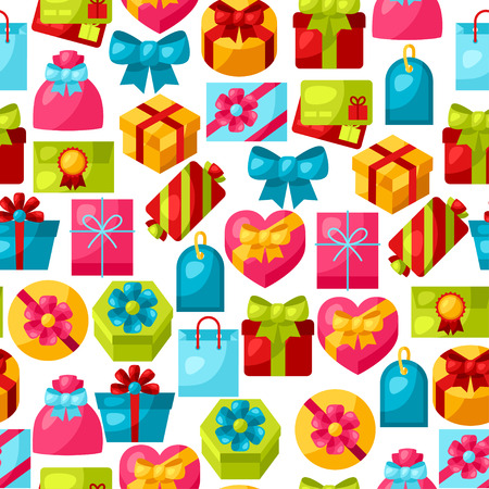 gift icon: Seamless celebration pattern with colorful gift boxes.