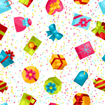gift pattern: Seamless celebration pattern with colorful gift boxes.