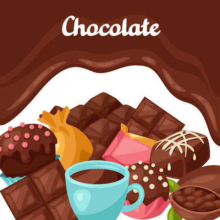 cocoa: Chocolate background with various tasty sweets and candies. Illustration