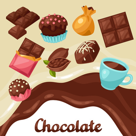 sweetmeats: Chocolate background with various tasty sweets and candies. Illustration