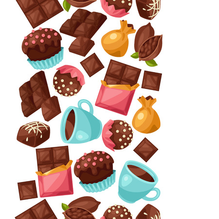 candy bar: Chocolate seamless pattern with various tasty sweets and candies.