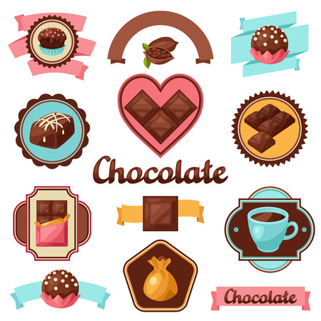 sweetmeats: Chocolate set of badges and labels with various tasty sweets.