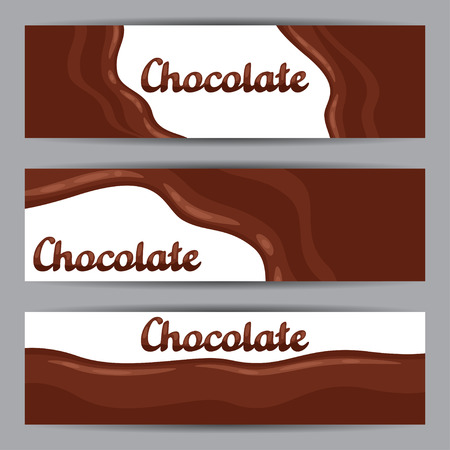 brown sugar: Set of horizontal banners with chocolate flow. Illustration