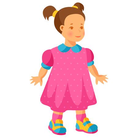 pretty little girl: Illustration of pretty little girl in pink dress.