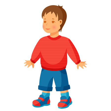 boy friend: Illustration of pretty little boy in trousers and sweater. Illustration
