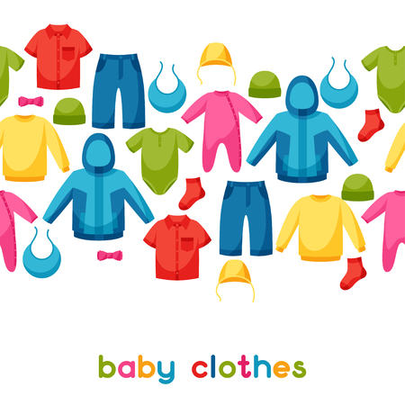 baby clothing: Baby clothes. Seamless pattern with clothing items for newborns and children.
