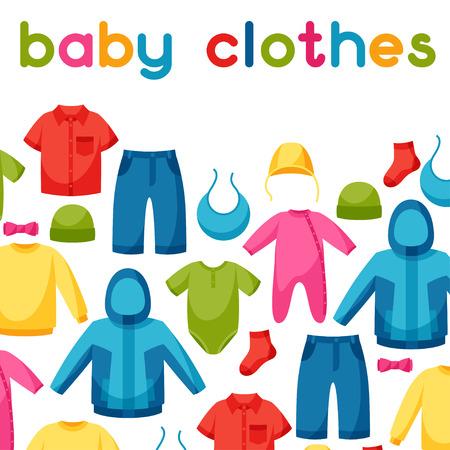 newborns: Baby clothes. Background with clothing items for newborns and children.