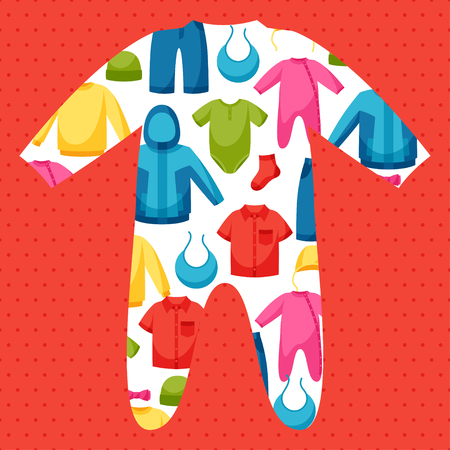Vêtements de bébé. Arrière-plan avec des vêtements pour les nouveau-nés et les enfants.