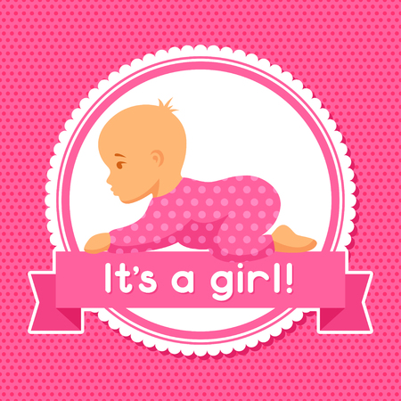 baby girl: It is a girl. Baby shower invitation.