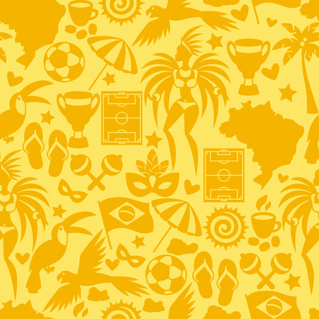 brazil: Brazil seamless pattern with stylized objects and cultural symbols.