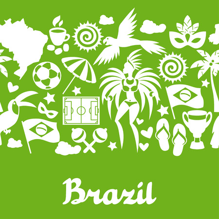 spanking: Brazil seamless pattern with stylized objects and cultural symbols.