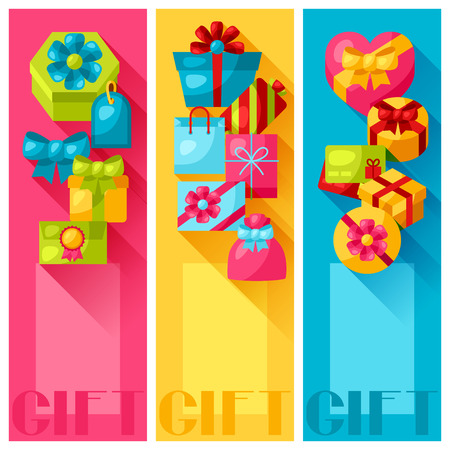 flayers: Celebration banners or flayers with colorful gift boxes.