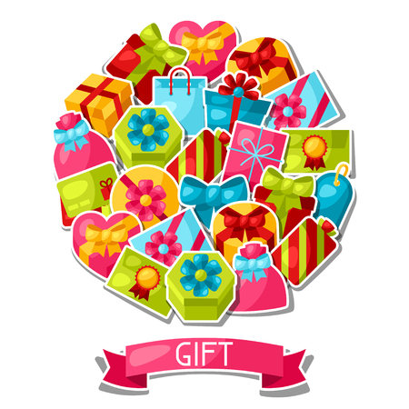 celebration background: Celebration background or card with colorful sticker gift boxes. Illustration
