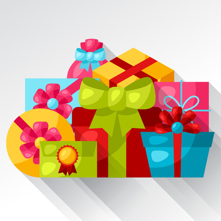 celebration background: Celebration background or card with colorful gift boxes.