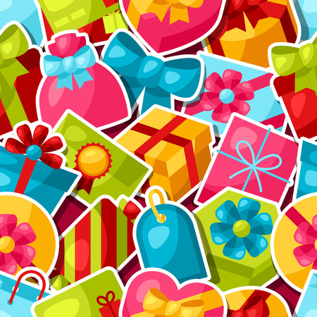 Seamless celebration pattern with colorful sticker gift boxes. Иллюстрация