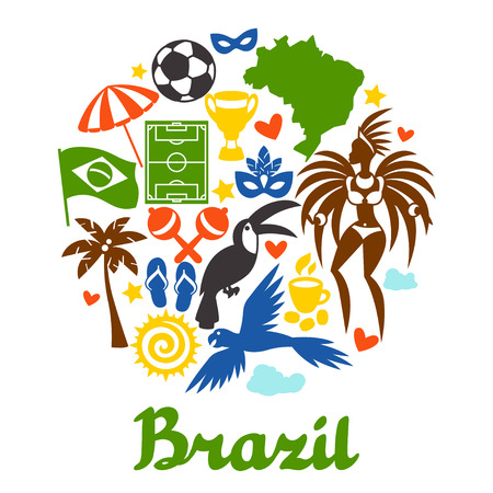spanking: Brazil background with stylized objects and cultural symbols.