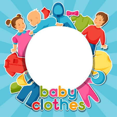 baby stickers: Baby clothes. Background with clothing items for newborns and children.