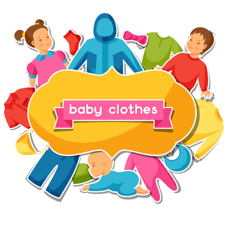 baby clothing: Baby clothes. Background with clothing items for newborns and children.