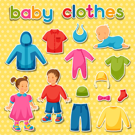 baby clothing: Baby clothes. Set of clothing items for newborns and children.