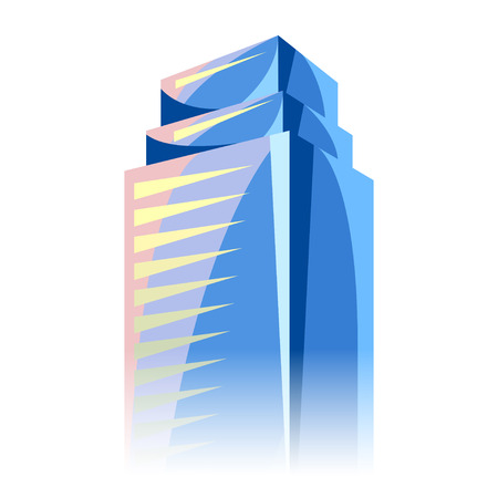 tall: City skyscraper in blue colors. Cityscape conceptual illustration for construction and tourism business. Image can be used on advertising booklets, banners, presentations.