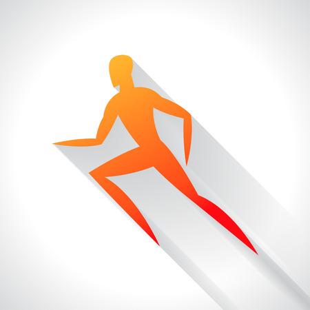 sport man: Athletics emblem of abstract stylized running man. Sport concept for advertising, branding, illustration. Illustration