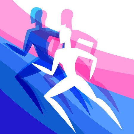 women sport: Background with abstract stylized running women. Sport concept for advertising, branding, illustration. Illustration