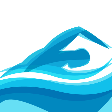 pool symbol: Background with abstract stylized swimming man. Sport concept for advertising, branding, illustration.