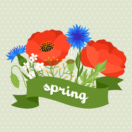 garden cornflowers: Floral background with pretty spring flowers. Template for invitation and greeting cards.