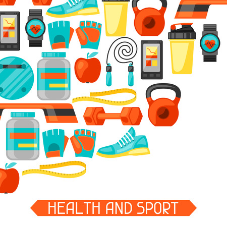 flayers: Sports and healthy lifestyle background with fitness icons. Image can be used on advertising booklets, banners, flayers.
