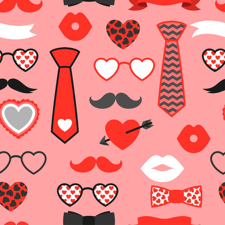 red lips: Happy valentines day seamless pattern. Hipster objects and love holiday symbols