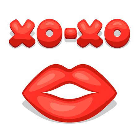 confession: Greeting card with xo-xo and lips. Concept can be used for Valentines Day, wedding or love confession message.