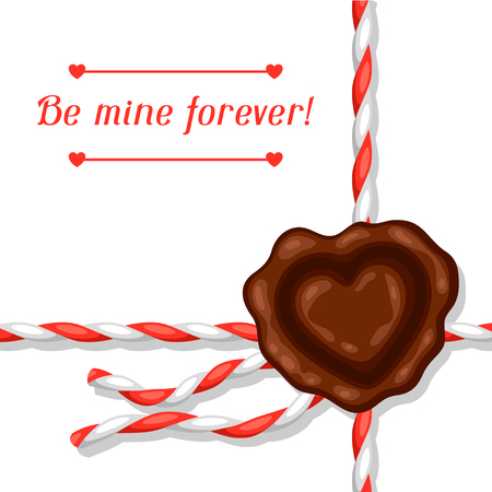 sealing wax: Greeting card with envelope and sealing wax. Concept can be used for Valentines Day, wedding or love confession message. Illustration