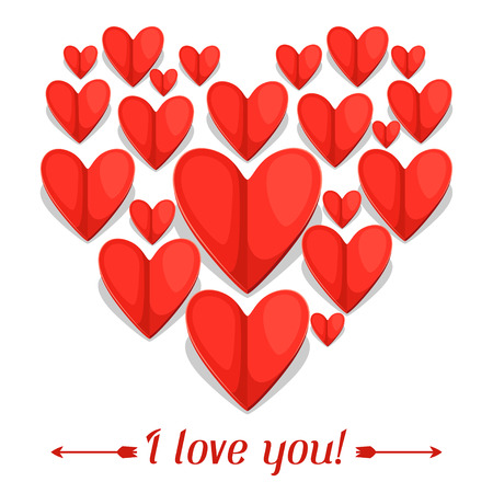 confession: Greeting card with paper hearts. Concept can be used for Valentines Day, wedding or love confession message.
