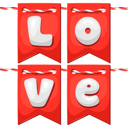 confession: Greeting card with flags. Concept can be used for Valentines Day, wedding or love confession message. Illustration